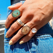 Turquoise/ Rutilated Quartz Zenith Ring