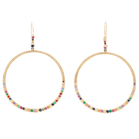 Large Multi Color Hoop Earrings