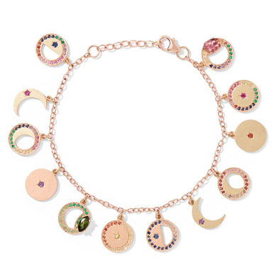 Phases of the Moon Multi Color Charm Bracelet