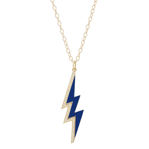 Large Enamel Half Diamond Bolt Necklace