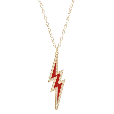 Large Enamel Diamond Bolt Necklace