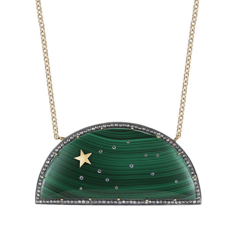 Rainbow Malachite Shooting Star Necklace