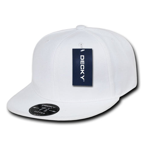 Men Women Round Flat Bill Structured White Blank Baseball Cap Plain Fitted Hat