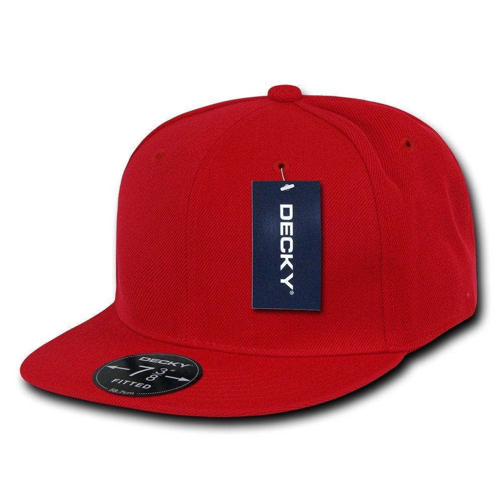 Men Women Round Flat Bill Structured Red Blank Baseball Cap Plain Fitted Hat 30211dc1ae2
