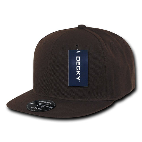 Men Women Round Flat Bill Structured Brown Blank Baseball Cap Plain Fitted Hat