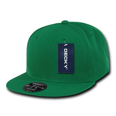 Men Women Round Flat Bill Structured Green Blank Baseball Cap Plain Fitted Hat