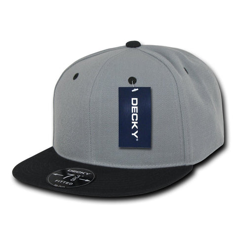 Men Women Round Flat Bill Structured Grey Black Visor 2tone Blank Baseball Cap Plain Fitted Hat