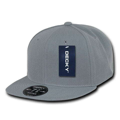 Men Women Round Flat Bill Structured Light Grey Blank Baseball Cap Plain Fitted Hat