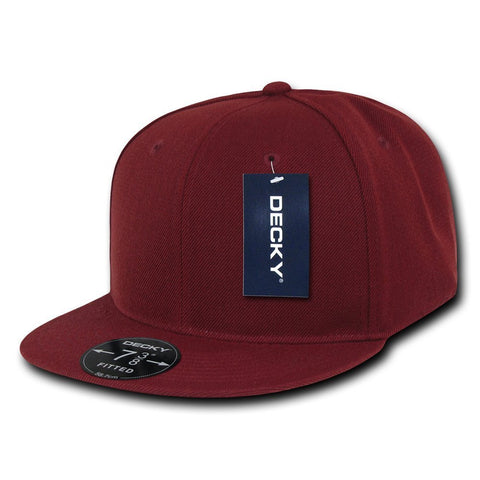 Men Women Round Flat Bill Structured Burgundy Blank Baseball Cap Plain Fitted Hat
