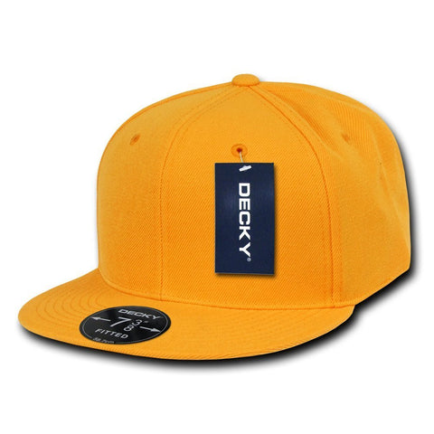 Men Women Round Flat Bill Structured Gold Blank Baseball Cap Plain Fitted Hat