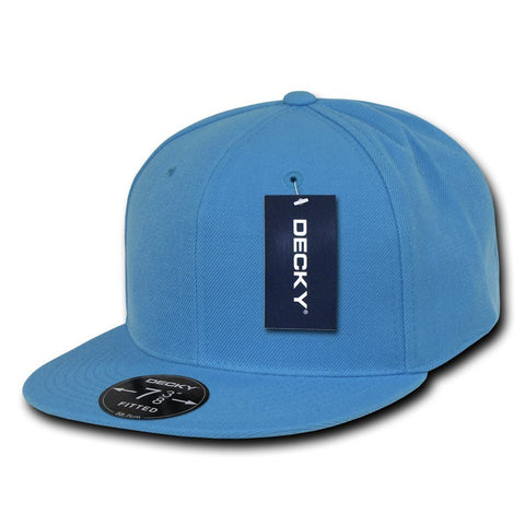 Men Women Round Flat Bill Structured Sky Blue Blank Baseball Cap Plain Fitted Hat