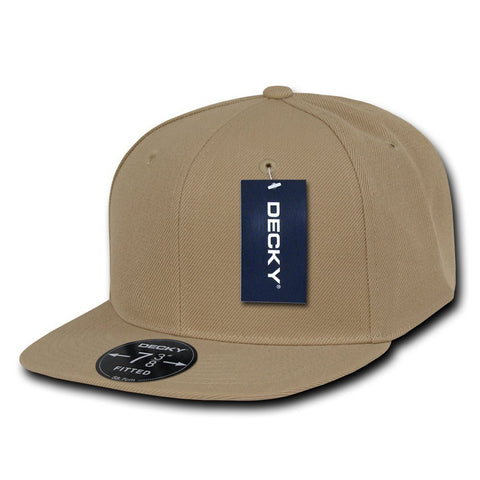 Men Women Round Flat Bill Structured Khaki Blank Baseball Cap Plain Fitted Hat