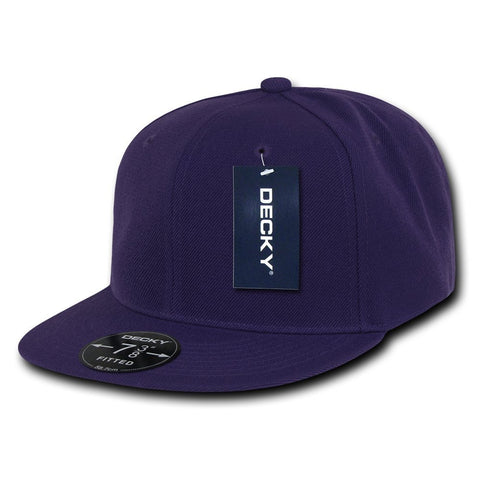 Men Women Round Flat Bill Structured Purple Blank Baseball Cap Plain Fitted Hat