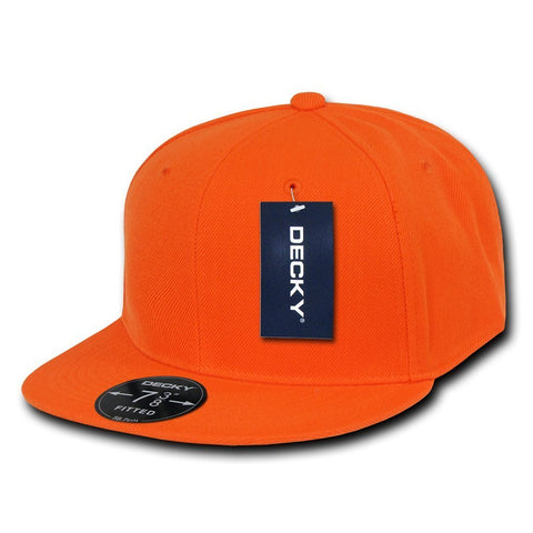 Men Women Round Flat Bill Structured Orange Blank Baseball Cap Plain Fitted Hat