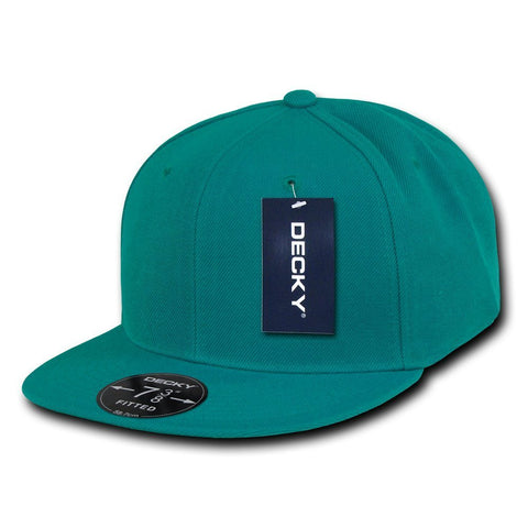 Men Women Round Flat Bill Structured Aqua Teal Blank Baseball Cap Plain Fitted Hat