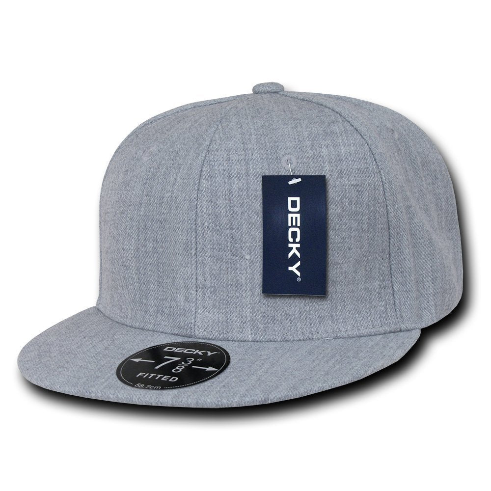 Men Women Round Flat Bill Structured Heather Grey Blank Baseball Cap Plain  Fitted Hat c8e3f0d6f47