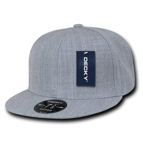 Men Women Round Flat Bill Structured Heather Grey Blank Baseball Cap Plain Fitted Hat
