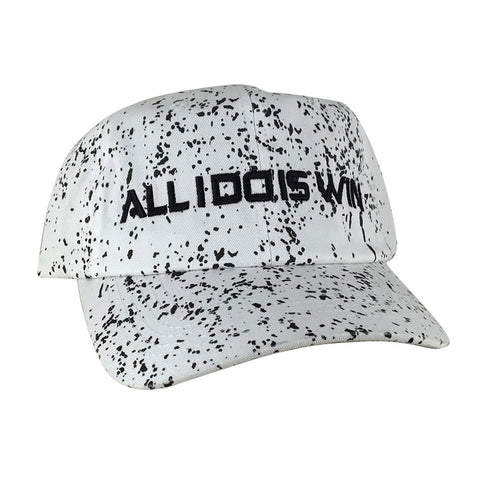 ALL I DO IS WIN Unstructured Paint Dot Strapback Hat Dad Cap - White Black