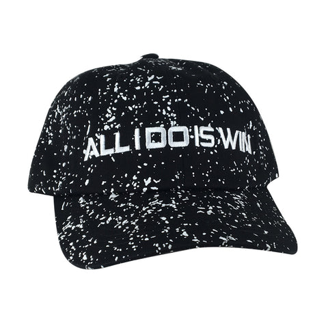 ALL I DO IS WIN Unstructured Paint Dot Strapback Hat Dad Cap - Black White