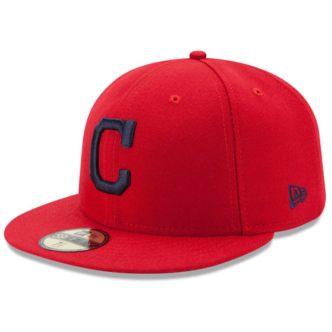 New Era 59fifty MLB On Field Fitted Hat Cap - Cleveland Indians Red
