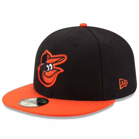 New Era 59fifty MLB On Field Fitted Hat Cap - Baltimore Orioles Road