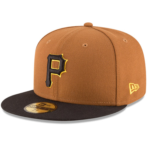 New Era 59fifty MLB On Field Fitted Hat Cap - Pittsburgh Pirates Alternate Gold
