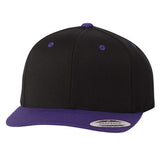 ( More Color ) Yupoong Classic Black 2Tone Wool Flat Bill Blank Baseball Hat Plain Snapback Cap