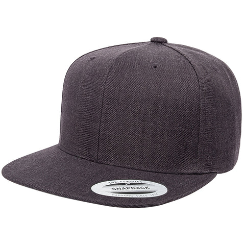 ( More Color ) Yupoong Classic 6089M Wool Flat Bill Blank Baseball Hat Plain Heather Snapback Cap