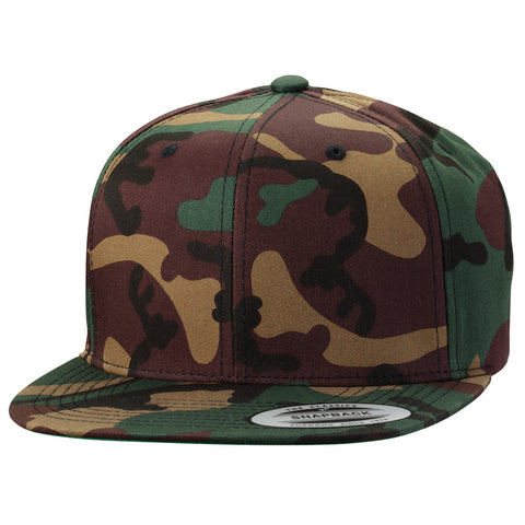 ( More Color ) Yupoong Classic 6089M Camo Flat Bill Blank Baseball Hat Plain Snapback Cap