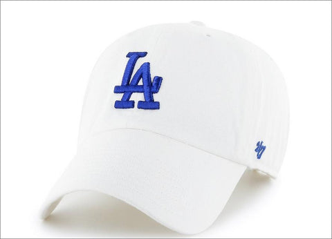 LA Dodgers Dad Hat White Blue 47' Brand MLB Cleanup Unstructured Baseball Cap