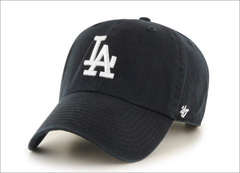 LA Dodgers Dad Hat Black White 47' Brand MLB Cleanup Unstructured Baseball Cap