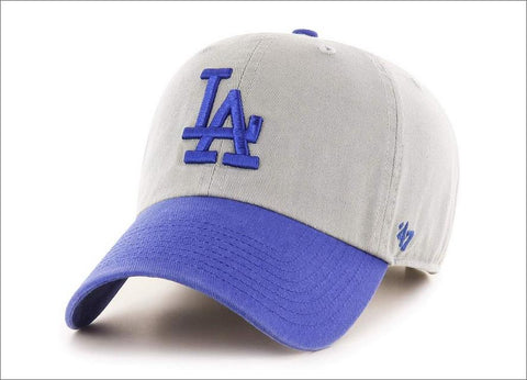 LA Dodgers Dad Hat 2tone Grey Blue Visor 47' Brand MLB Cleanup Unstructured Baseball Cap