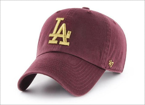 LA Dodgers Dad Hat Burgundy Metallic Gold 47' Brand MLB Cleanup Unstructured Baseball Cap