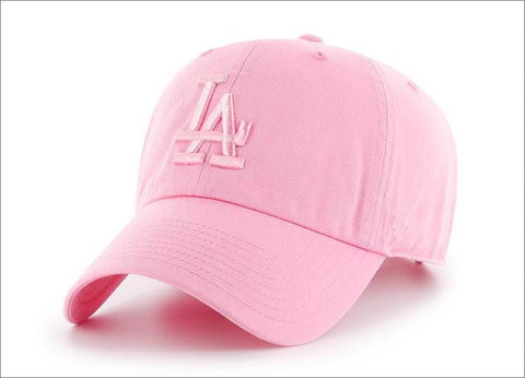 LA Dodgers Dad Hat Tonal Rose Pink 47' Brand MLB Cleanup Unstructured Baseball Cap