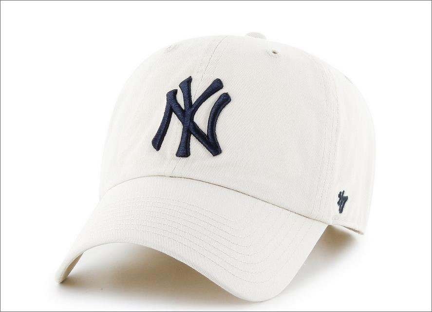 33c7fb40a31 New York Yankees Dad Hat White Navy Blue 47  Brand MLB Cleanup Unstructured  Baseball Cap