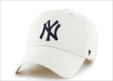 New York Yankees Dad Hat White Navy Blue 47' Brand MLB Cleanup Unstructured Baseball Cap