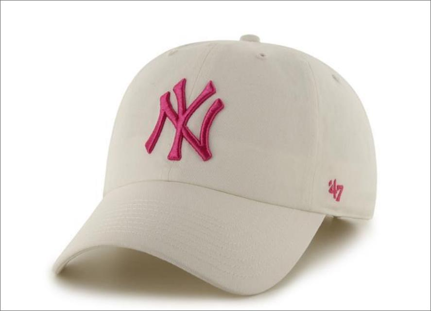 8308510de77 New York Yankees Dad Hat White Hot Pink 47  Brand MLB Cleanup Unstructured  Baseball Cap