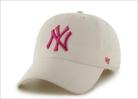 New York Yankees Dad Hat White Hot Pink 47' Brand MLB Cleanup Unstructured Baseball Cap