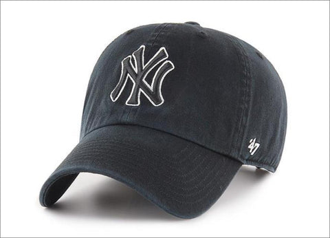 New York Yankees Dad Hat Black White Outline 47' Brand MLB Cleanup Unstructured Baseball Cap