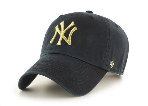 New York Yankees Dad Hat Black Metallic Gold 47' Brand MLB Cleanup Unstructured Baseball Cap