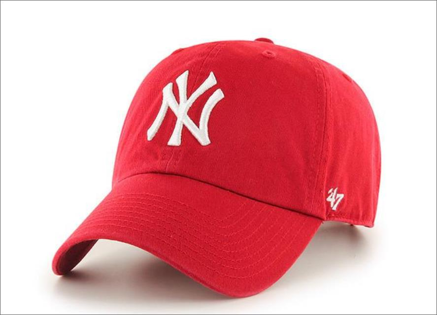 New York Yankees Dad Hat Red White 47  Brand MLB Cleanup Unstructured  Baseball Cap 703aba4e12f