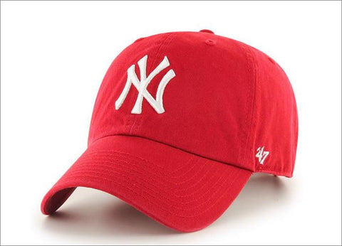 New York Yankees Dad Hat Red White 47' Brand MLB Cleanup Unstructured Baseball Cap