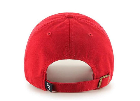 96faaca176a ... wholesale new york yankees dad hat red white 47 brand mlb cleanup  unstructured baseball cap 57b40