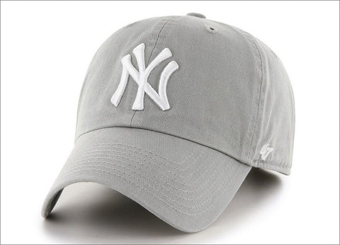 New York Yankees Dad Hat Grey White 47' Brand MLB Cleanup Unstructured Baseball Cap