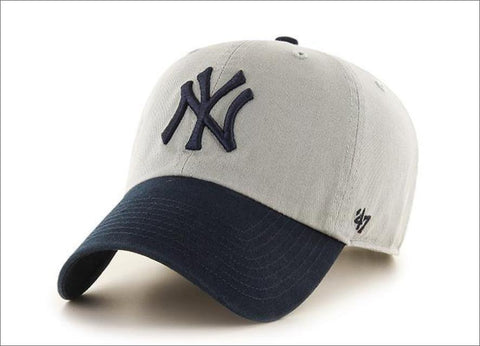 New York Yankees Dad Hat Grey Navy Blue Visor 47' Brand MLB Cleanup Unstructured Baseball Cap