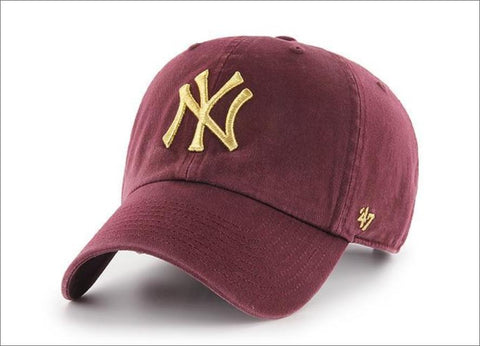 New York Yankees Dad Hat Burgundy Metallic Gold 47' Brand MLB Cleanup Unstructured Baseball Cap