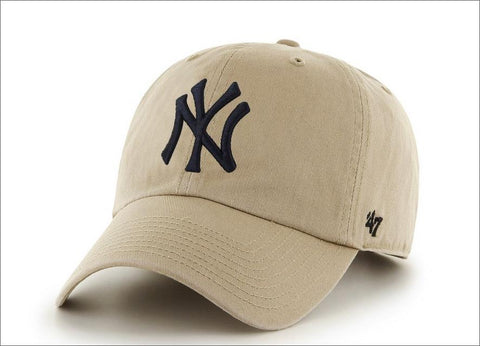 New York Yankees Dad Hat Khaki Black 47' Brand MLB Cleanup Unstructured Baseball Cap