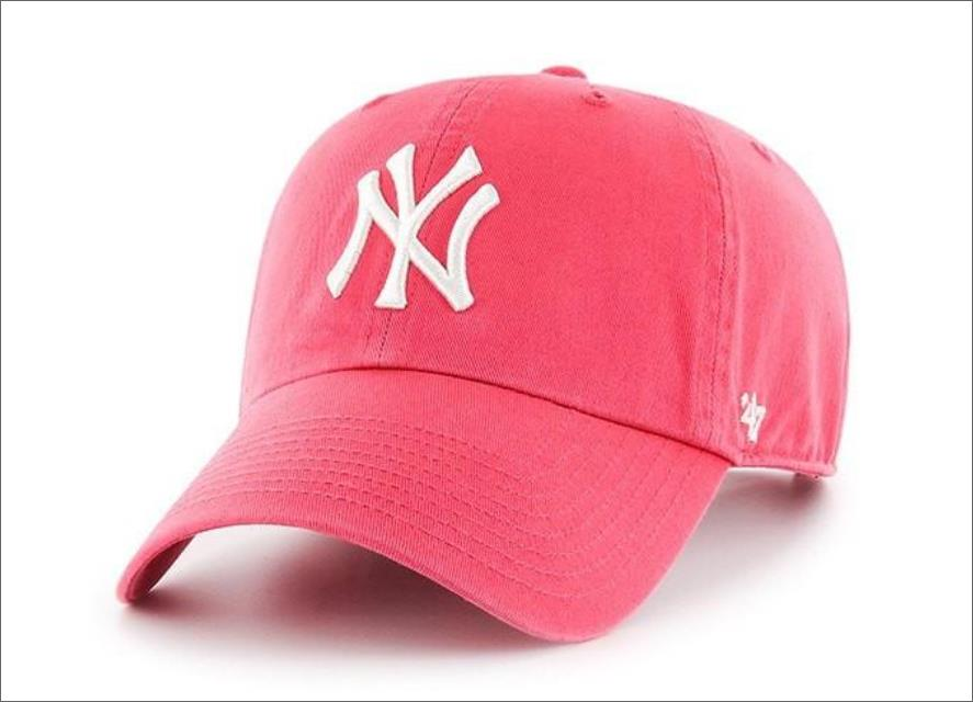 285779547 New York Yankees Dad Hat Hot Pink White 47' Brand MLB Cleanup Unstructured  Baseball Cap