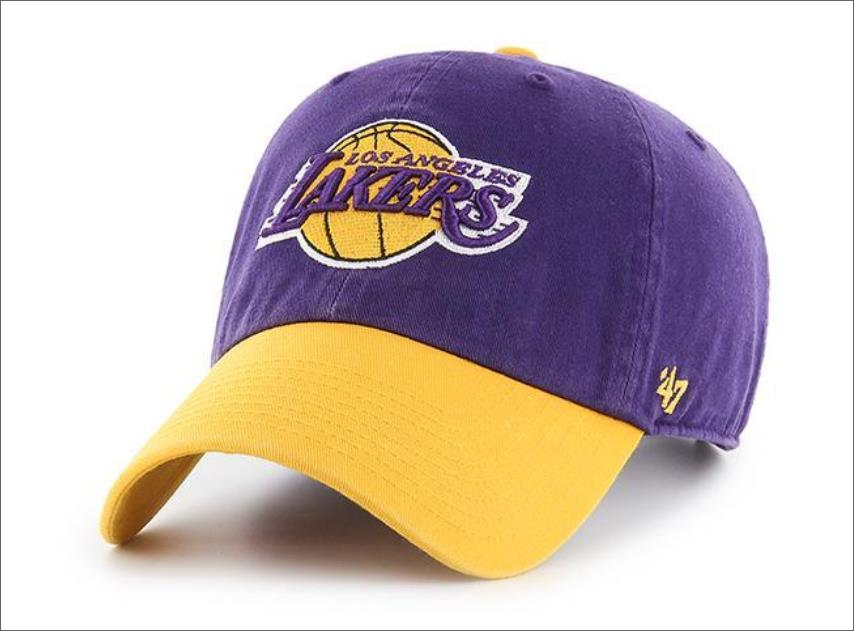 5144ac7b LA Lakers Dad Hat 47' Brand 2tone Clean up Unstructured Baseball Cap ...