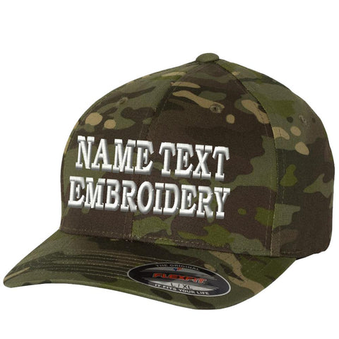 Custom Embroidered Flexfit Hat Wooly Combed Personalized Text Embroidery Size Fitted Cap